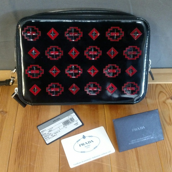 Prada Handbags - Prada Patent Leather Bag - Black w/Red Geometric